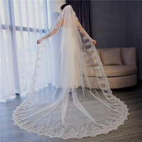 Fishday 2019 Appliqued Bridal Wedding Veil Beads Velo Novia Stone Girls Long 5m White Accessories Woman Femme With Clip D30
