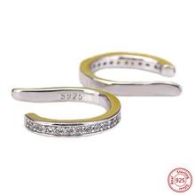 ФОТО konduki fashion sparkling clip earrings for women real 925 sterling silver luxury aaa colorful cz cuff earrrings punk jewelry