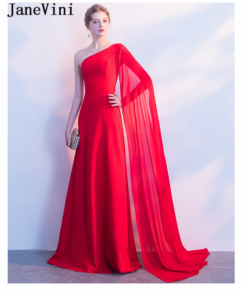 One Shoulder Red Long Dresses for Weddings