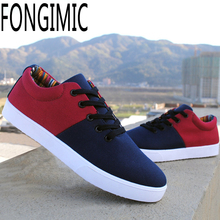Fashion design men spring summer  lace-up comfortable All-match breathable canvas Patchwork male popular Flat with Casual shoes