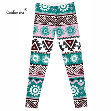 Leggings 2016 New Fashion Cool Style geometry&flowers Digital Print Women Sexy Pants Work Out Trousers Ropa Mujer Plus size