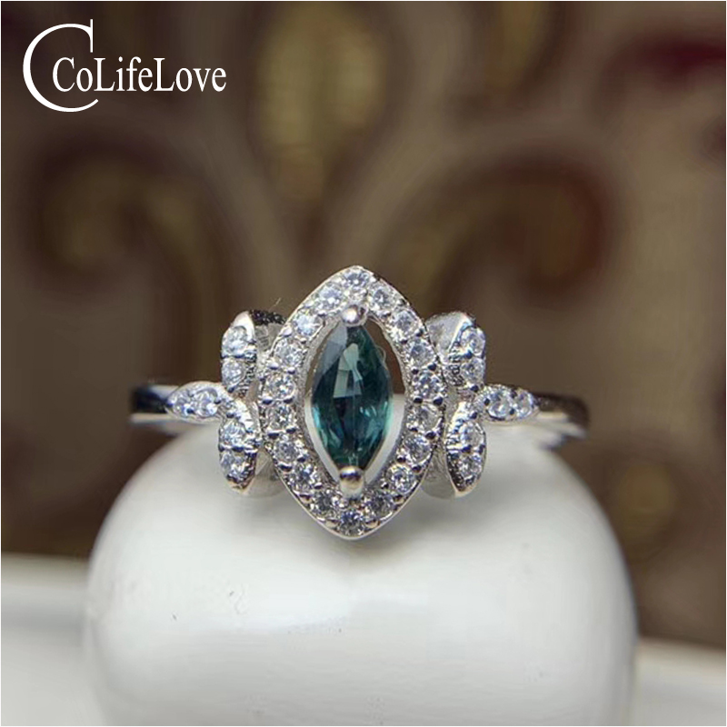 CoLife Jewelry 100% Natural Sapphire Ring  For Engagement 3mm*6mm Navy Blue Sapphire Silver Ring 925 Silver Sapphire Jewelry