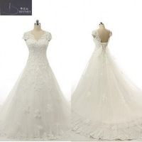 Modest Bridal Gowns Small V Neck Capped Short Sleeves A Line Chapel Wedding Dresses China
