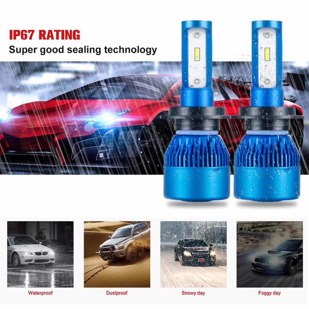 Foxcncar H4 H7 LED car headlight bulb Mini H1 H11 9005 9006 Auto Headlamp 24V 12V 10000LM 72W ampoule HB3 fan H8 6500K CSP Puce