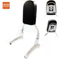 For Honda ACE 1100 Motorcycle Skull Flame Rear Backrest Passenger Sissy Bar Leather Pad Chrome Accessories