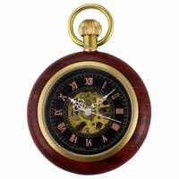 ユニークなクラフト木製ウッドケースオープンフェイスローマスチームパンクスケルトン機械式懐中時計ジュエルチェーン手巻き時計/wpk231