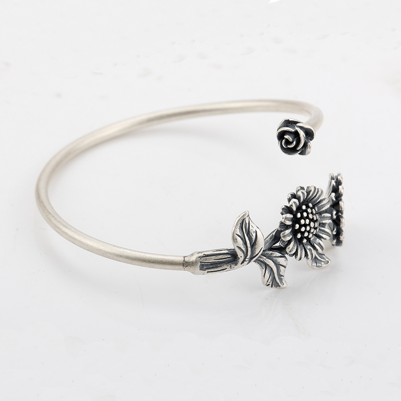 925 Sterling Silver European Style Bangles with Silver Sunflower Positive and optimistic life For Women Jewelry