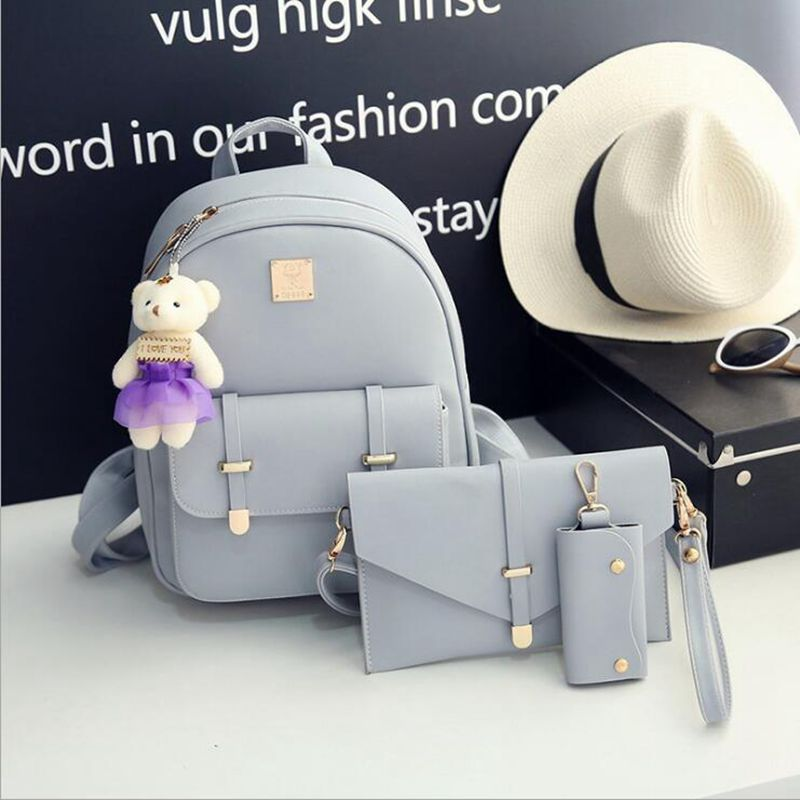2017 New Women Fashion Backpack Casual PU Leather School Bags For Teenagers Girls College Little bear