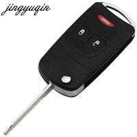 jingyuqin 10pcs 3 Button Flip Key shell For Chrysler For Jeep fit Dodge Ram 1500 Caliber Nitro Ram 2500 3500 Fob Case