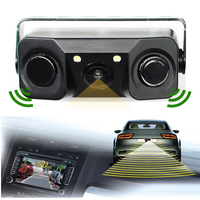 2016 New 2 In 1 LED Sound Alarm Car Reverse Backup Video Parking Sensor Radar System