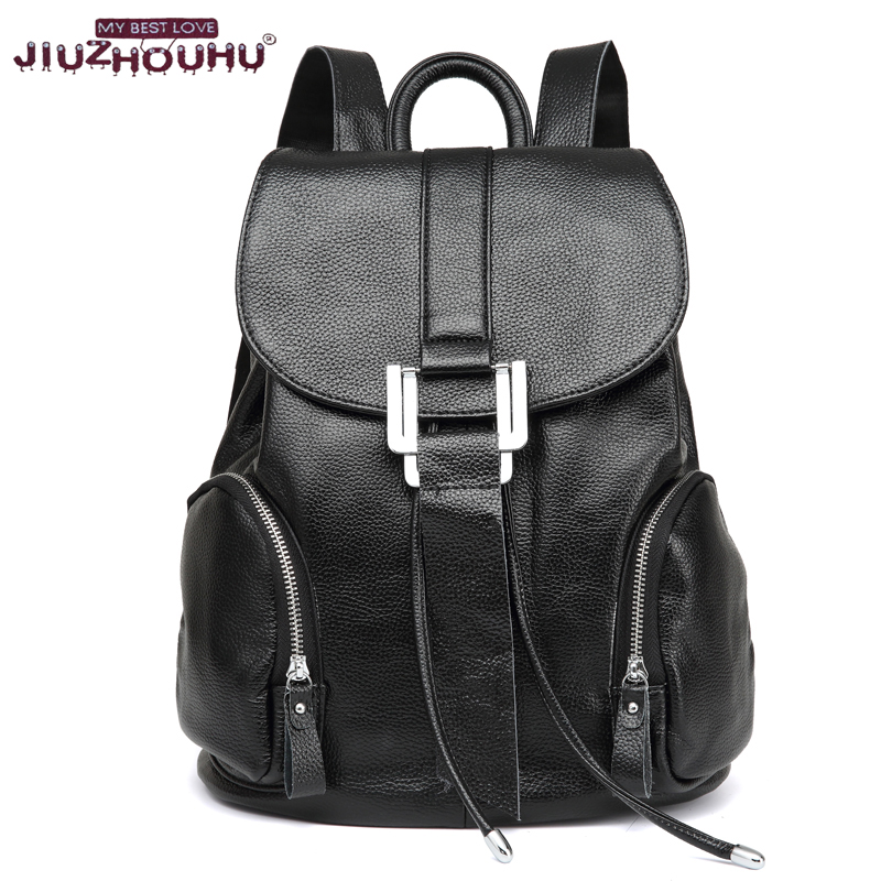 New Arrival  Genuine Leather Women Backpack Fashion String Close Popular Famous Brand Preppy Style Girl School Bag Travel Bag 2015 new fashion designer genuine leather brand ladies preppy style women backpack school backpack women shoulder wnb069