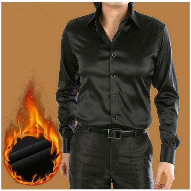 Venta caliente 2017 de corea hombres Espesar camisa de seda de manga larga otoño invierno Nueva Llegada de Los Hombres Personalizados Camisa de Esmoquin azul marino SR01100