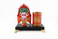 Chinese style pen holder Hua MuLan Peking Opera doll figure Traditional features gift Z002
