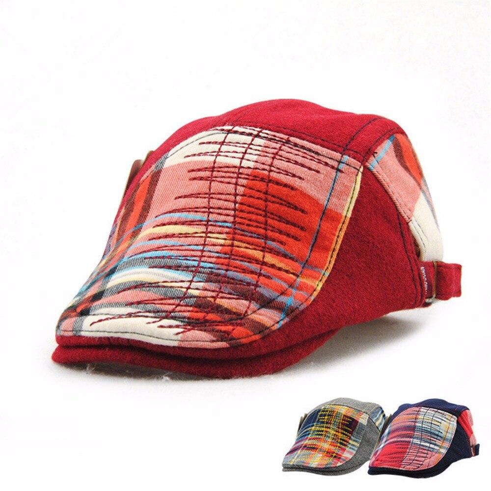 Fashion Grid Kids Beret Hats Duckbill Casquette Boina Buckle Visors Golf Driving Flat Detective Hat Casquette Newsboy Cap 2018