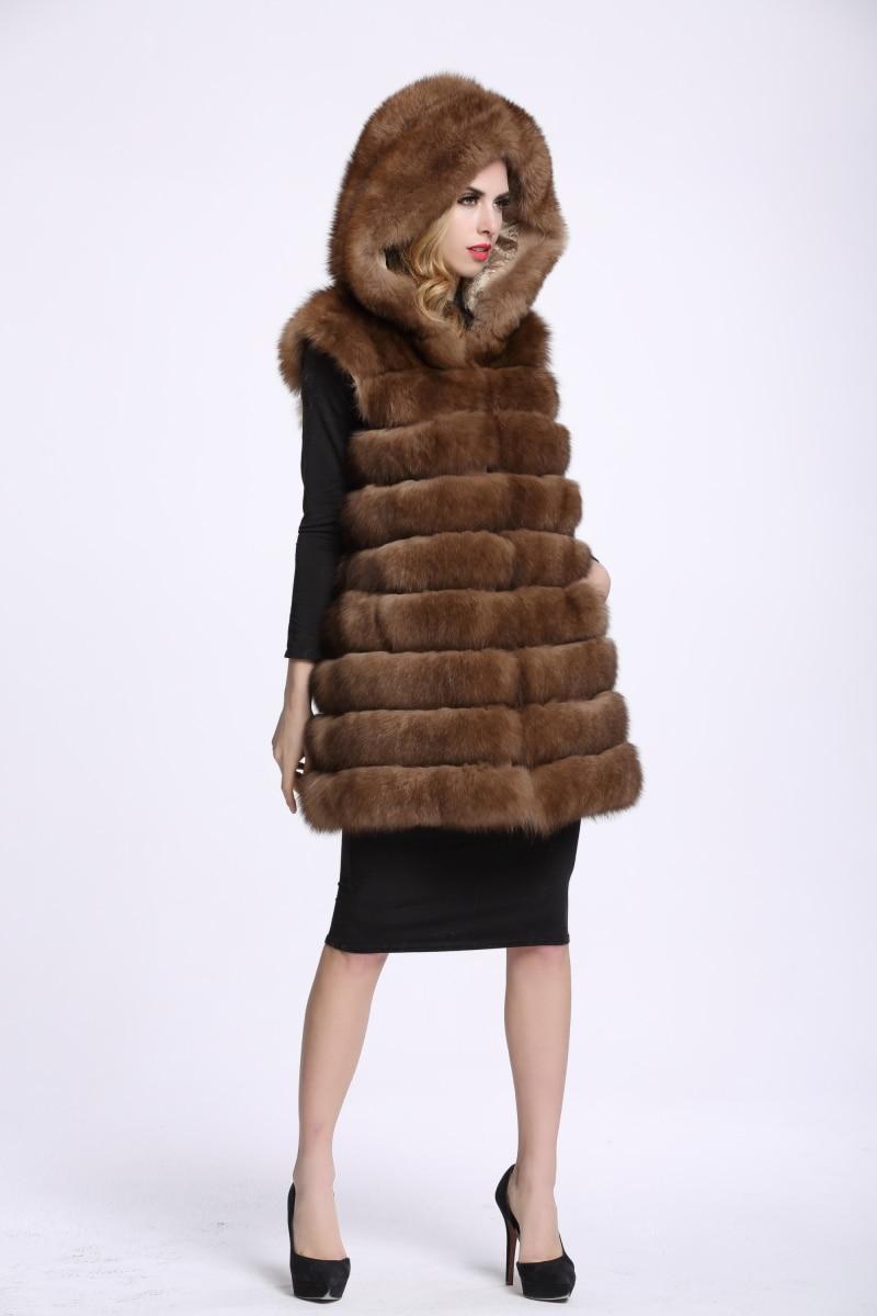 Gilet D'hiver Naturel Sable Femmes Réel Fourrure La Femme Renard Manteaux Des Gilets De Hiver Manches Style Nouveau V48 Sans À Vestes Mode FqAUHfH
