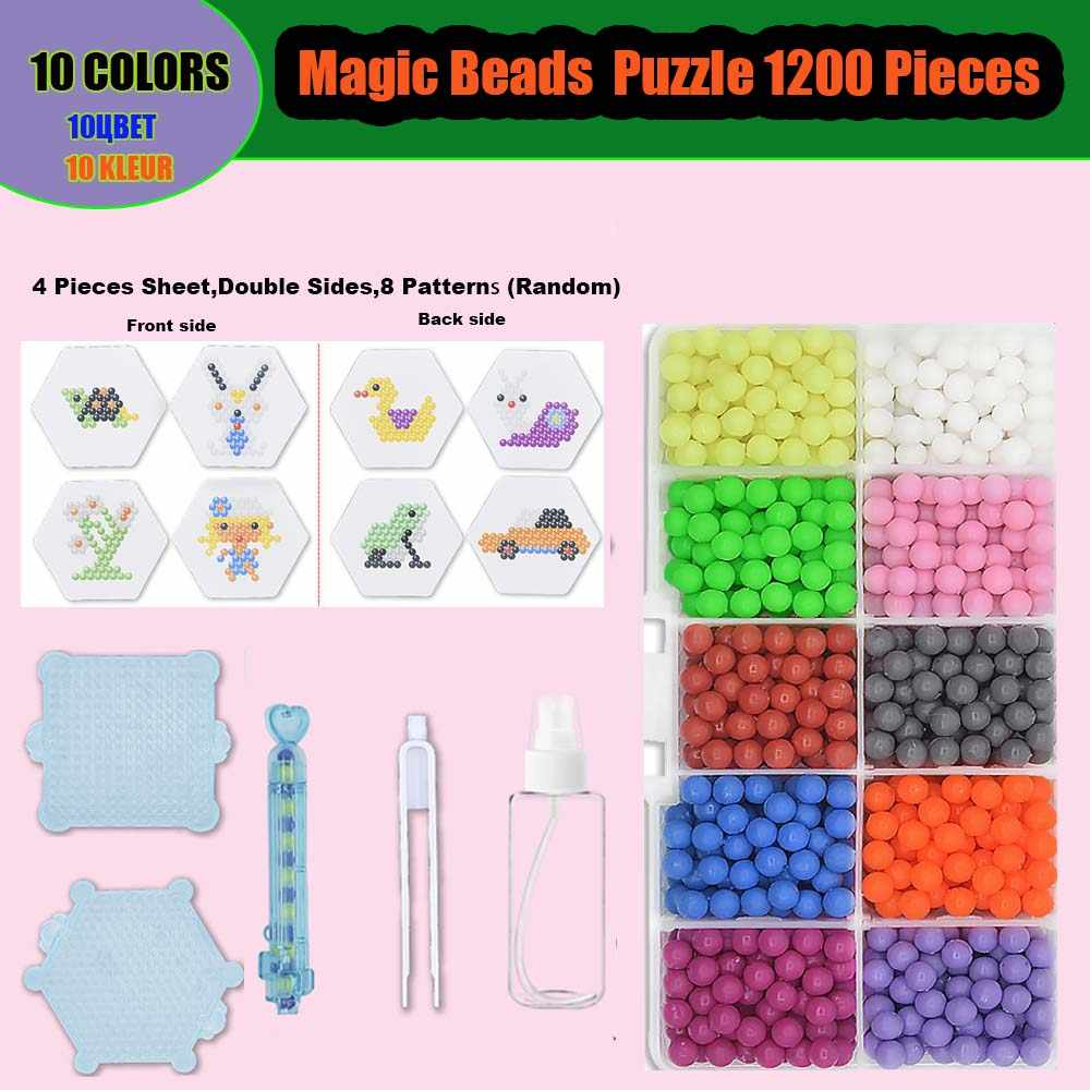 Magic Manik-manik Kit Air Lengket Perler Beados Papan Pasak Set Sekering Manik-manik Jigsaw Puzzle Mainan Pendidikan untuk Anak Hadiah