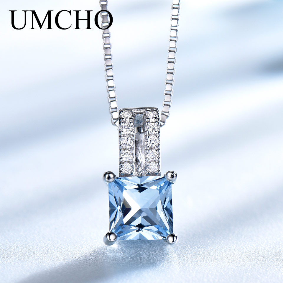 UMCHO Elegant Pendants Real 925 Sterling Silver Jewelry Created Sky Blue Topaz Necklace Wedding For Women Gifts Without Chain