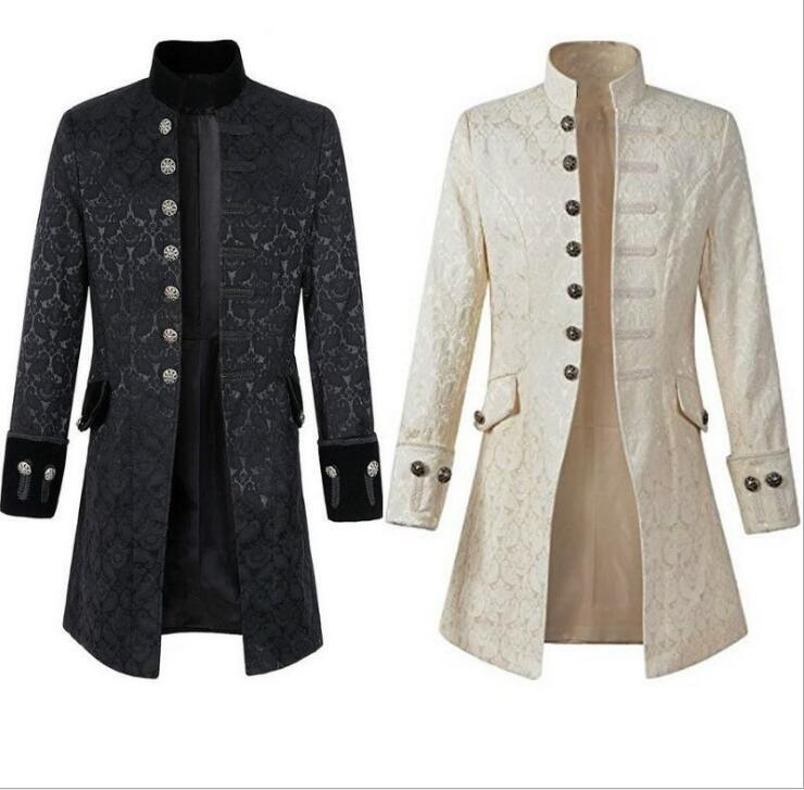 Adult Men Victoria Edwardian Steampunk Trench Coat Frock Velvet Outwear 2 Colors Solid Vintage Prince Overcoat Costume S XXXL