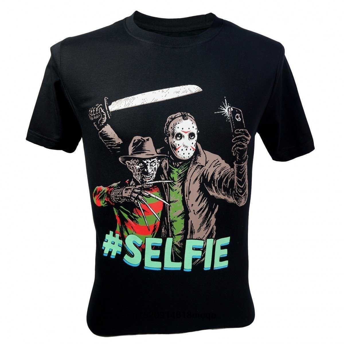 0d1b1e74 t shirt Men's freddy krueger VS Jason 13th Friday #Selfie T-Shirt Black