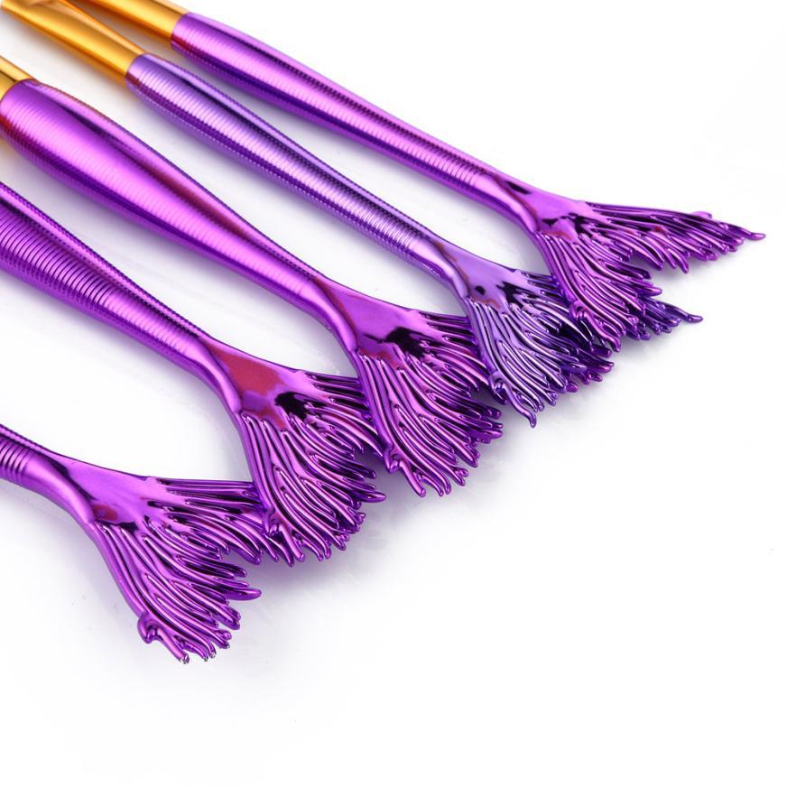 5PCS Powder Makeup Brushes Set Foundation Eyeshadow Lip Blush Make Up Brush Kits Purple Fashion Economic Beauty maquiagem 9.18