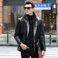 Hot! 2016 Winter New Brand Black Leather Jackets Men Turn-down Collar Single Breasted Men's Leather Jackets Casual Outwear Coats