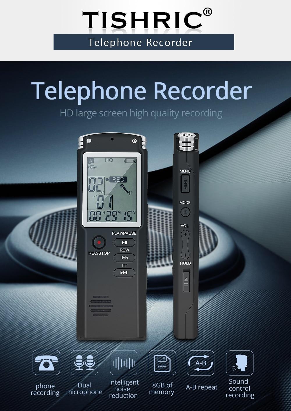 Tishric Original 8GB USB Voice Activated Recorder Telephone Audio Recorder  Recordin Mini Dictaphone With WAV,MP3 Player