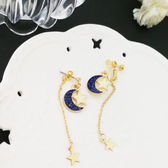 Sailor Moon Gold Star Blue Moon Earrings