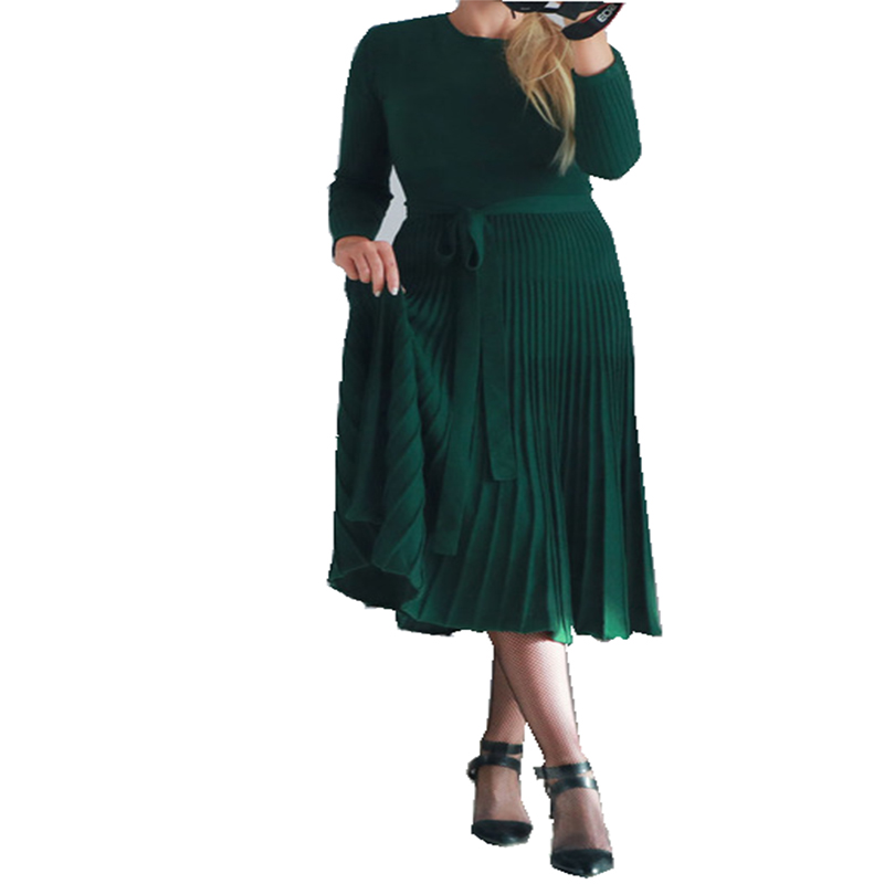 Spring Autumn Women s Knitted Cashmere Dress Fashionable sexy pleated dress of high waist with long