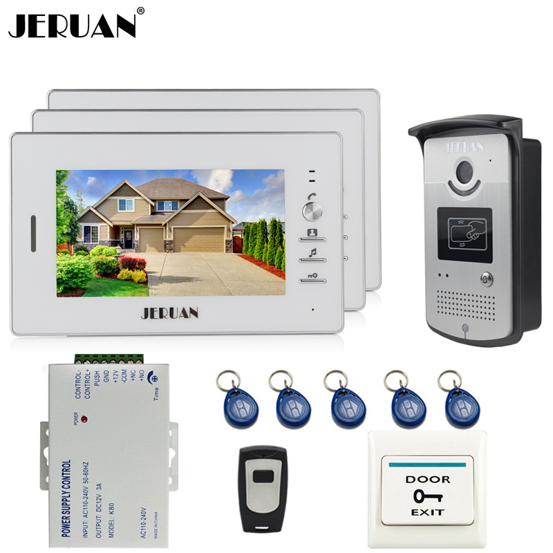 JERUAN 7`` TFT Color Screen Video Door Phone Intercom System kit 3 Monitors +700TVL RFID Access IR COMS Camera + Remote Control