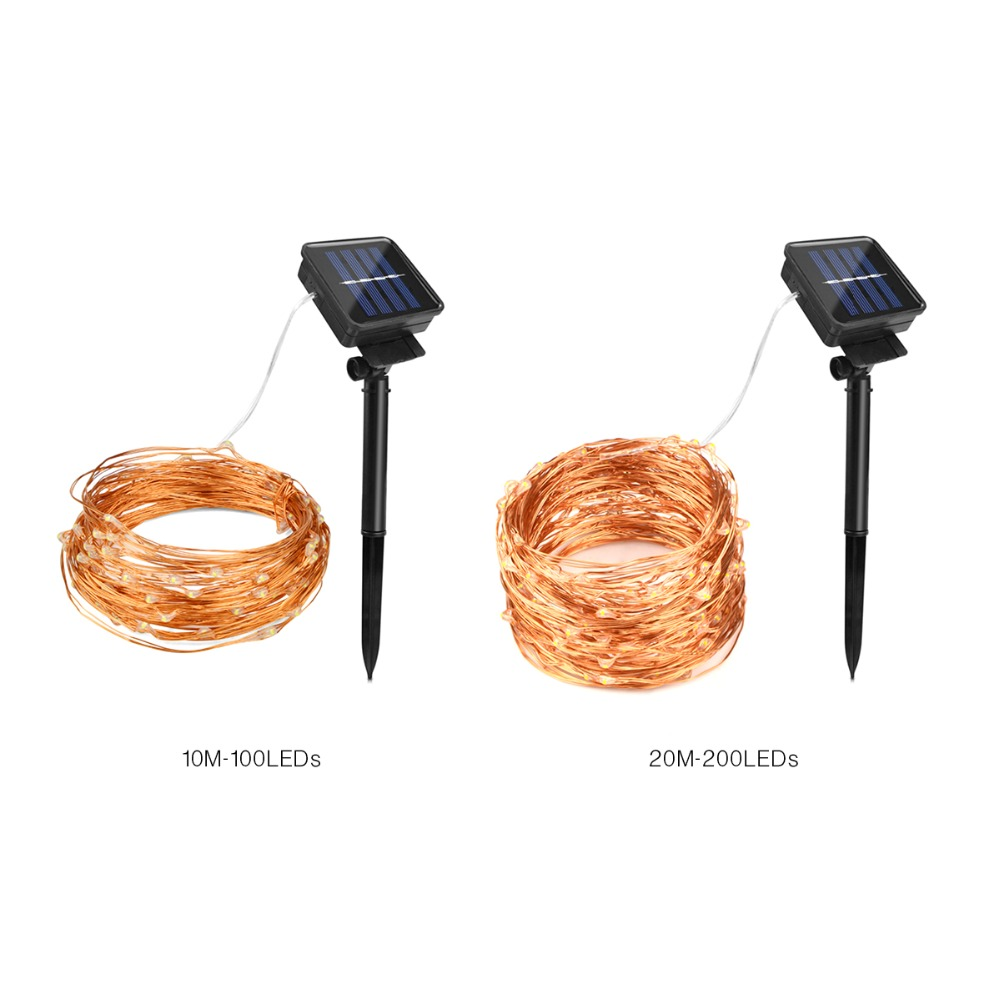 Solar lights 100 200 leds copper wire string light holiday for Guirlande exterieur