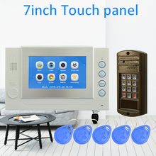 (1 Set) Touch Panel Video Intercom RFID Card Door release 7 inch color screen aluminium alloy surface HD camera Night visible