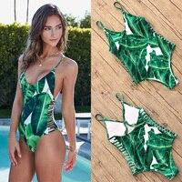 2018 New Sexy One Piece Swimsuit Women Swimwear Green Leaf Bodysuit Bandage Cut Out Beach Bathing