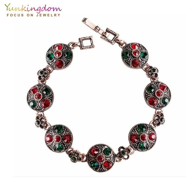 Ancient Rose Gold Vintage Bracelets for Women Colorful Rhinestone Bohemian Bracelets & Bangles pulseras mujer moda 2018