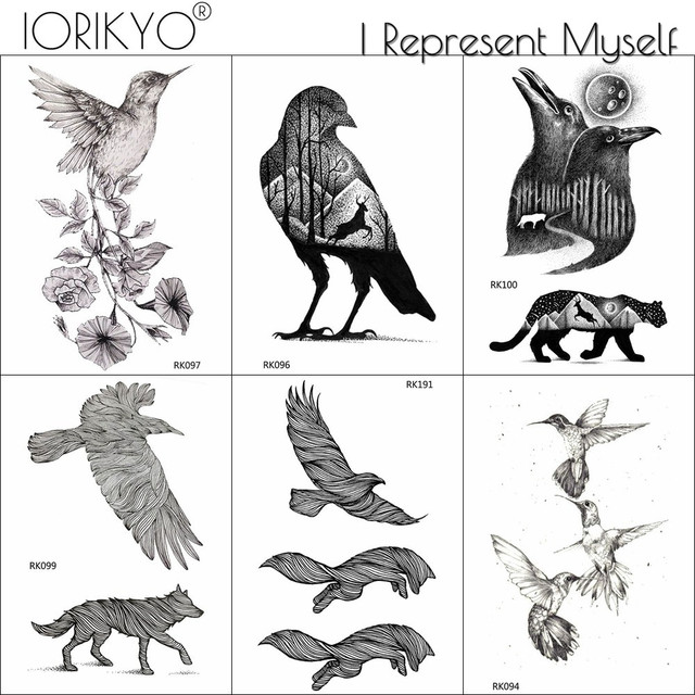 a5ffda879 IORIKYO Men Arm Art Temporary Black Hummingbird Tattoo Stickers Women  Beauty DIY Birds Hill Forearm Tatoos Eagle Adhesive Tattoo