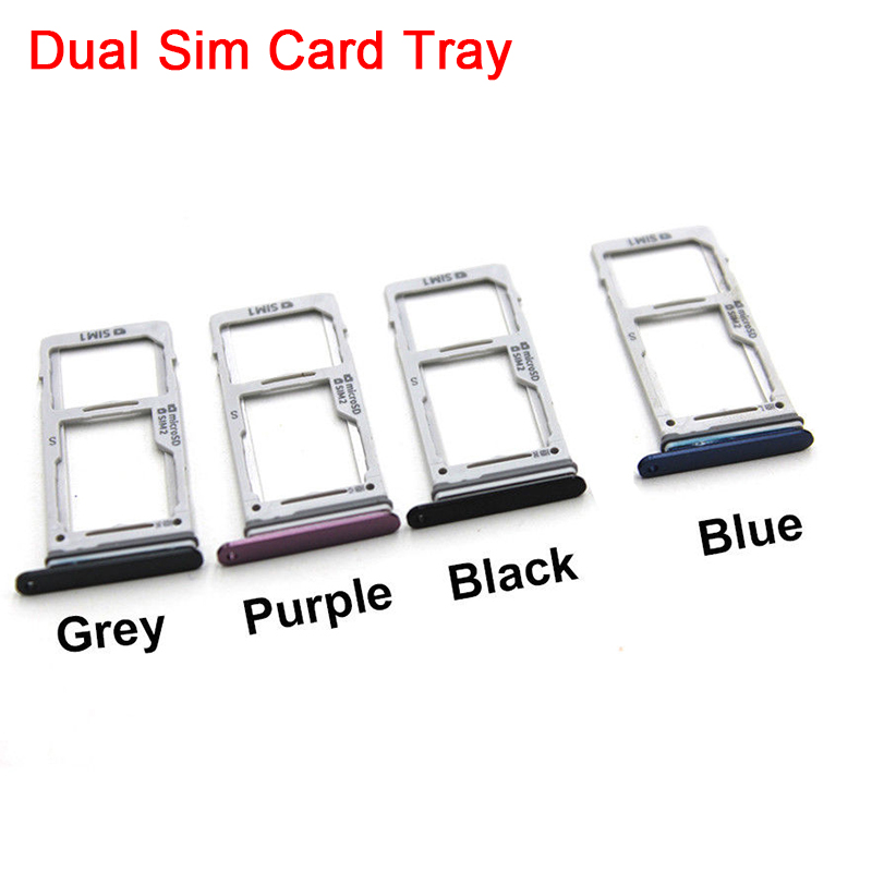 10Pcs/lot Original Micro SD Card Tray With Dual Nano Sim Card Slot Holder For Samsung Galaxy S9 G960 S9 Plus G965 Replacement