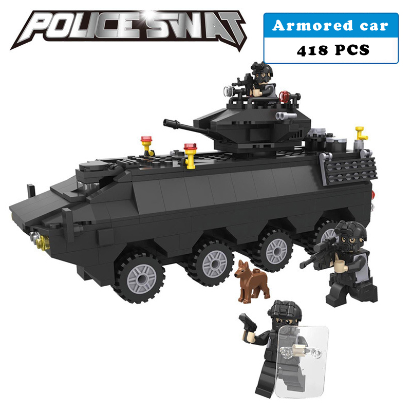 Police station SWAT Armored carsoldiers Military Series 3D Model building blocks compatible with lego city Boy Toy hobbies Gift