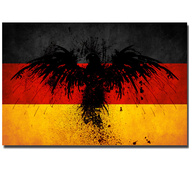 wall art large colorful artwork creative ideas germany flag with eagle print on canvas wall. Black Bedroom Furniture Sets. Home Design Ideas