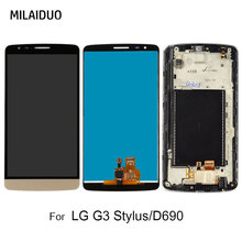 LCD Display For LG G3 Stylus D690 D690N D693n D693 Touch Screen Digitizer Assembly Replacement Black White Gold with Frame 5.5