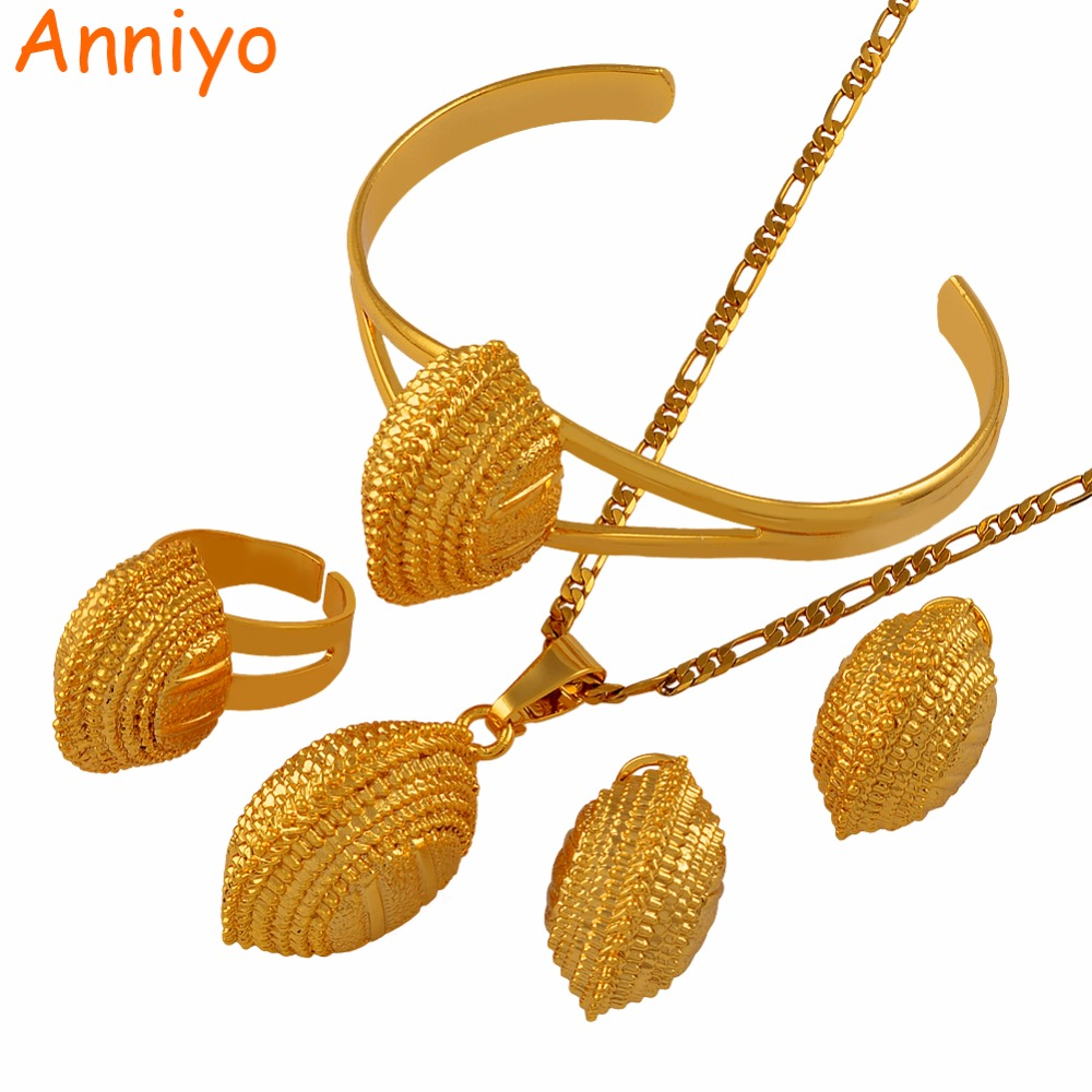 Anniyo New Ethiopian Wedding Jewelry Sets Necklaces Bracelet Earrings Ring Gold Color Habe