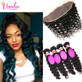 7A Grade Virgin Indian Deep Curly Hair With Frontal Closure 13x4 Ear To Ear Lace Frontal With Baby Hair 3 Bundles Human Hair