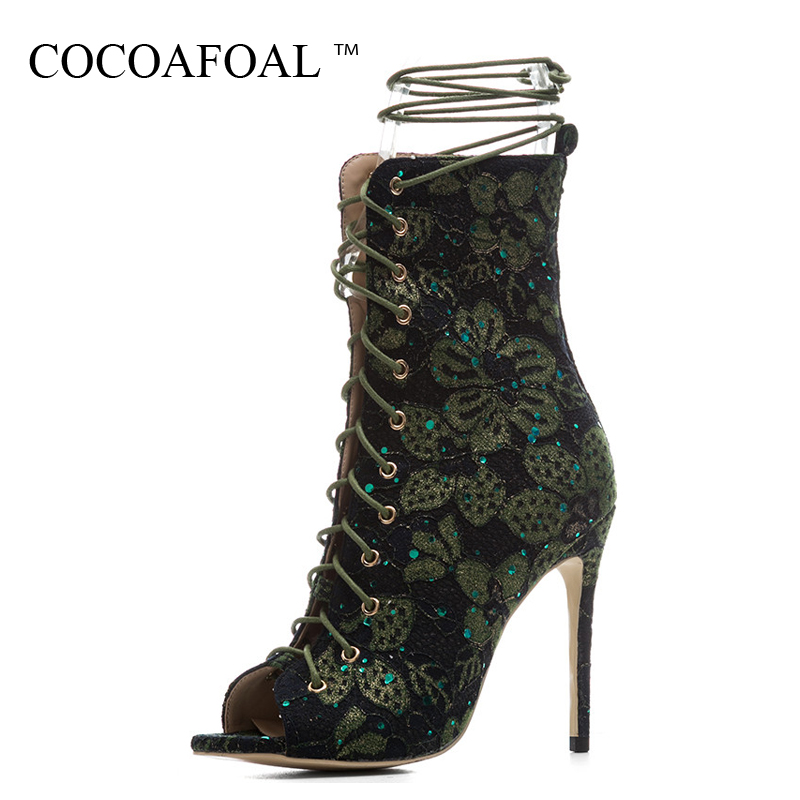 COCOAFOAL Women Rhinestone Sandals Plus Size 33 43 Wedding Heels Peep Toe Ankle Boots Summer Sexy Lace Up Gladiator Sandals 2018 aneikeh summer women sandals pumps shoes peep toe sexy high heels gladiator sandals women slingback ankle boots size 35 40