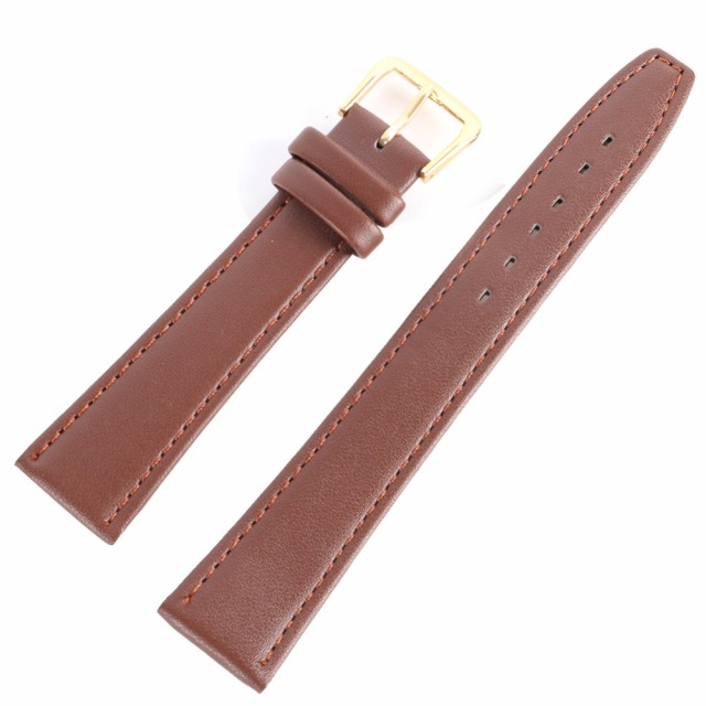 Black & Coffee 12 -20 mm Men Women Durable Soft Pin Buckle Watch Strap PU Leathe
