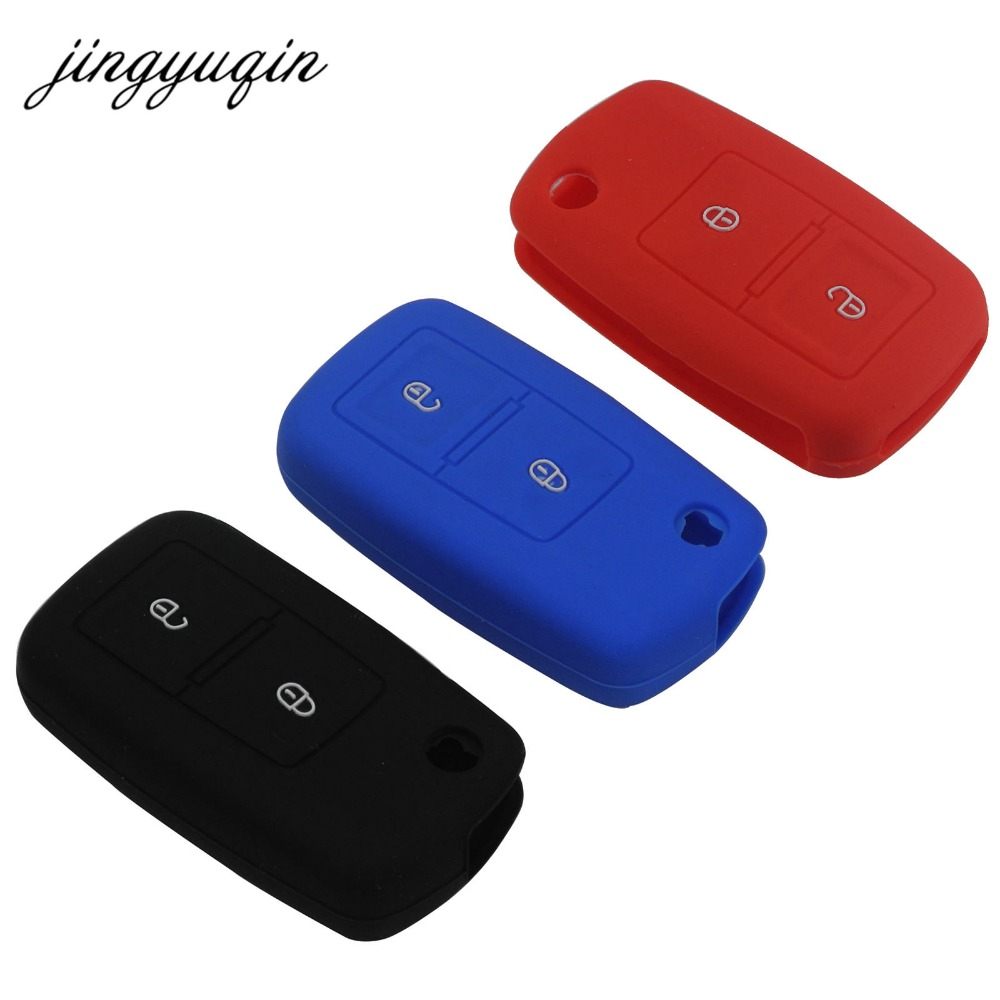 jingyuqin 2 Button Silicone Car Key Cover For VW Passat Polo Golf Touran Bora Jetta Cady Touran Sharan Transporter new 2 buttons silicone car key cover for vw volkswagen passat polo golf touran bora jetta cady touran sharan transporter