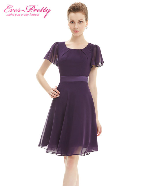 Cocktail Party Dresses Ever Pretty AS03990 Purple Round Neck Chiffon Short  Elegant Summer 2017 New Arrival Cocktail Dresses b2b8a371fee