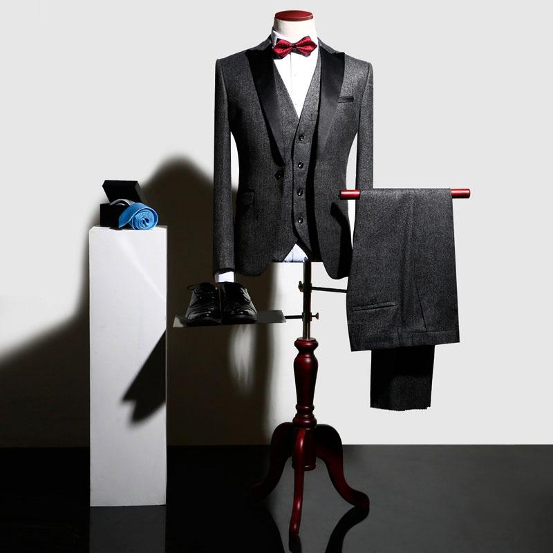 Costumes Couleurs bleu ardoisé De Fit Hommes Affaires Automne marine rouge 6 Complet Gilet veste 2018 champagne Haute Mariage Slim Classique Bleu Qualité Noir Robe Causalité Pantalon Costume 1B7XvnH