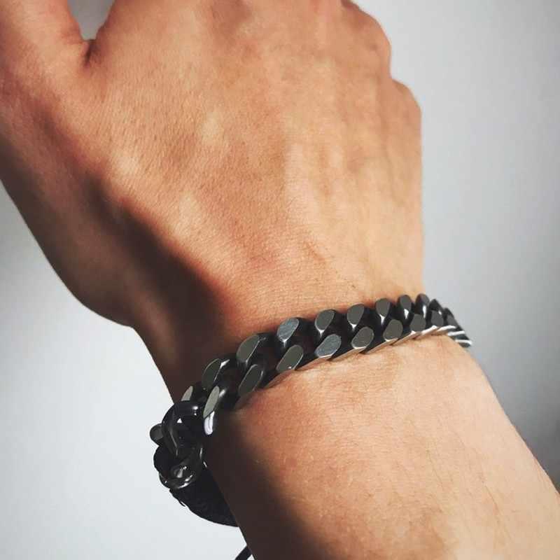 Rock Mens krawężnik Link Chain Bracelet z woskową liną Design Brands regulowany Retro szary Pulseras ze stali nierdzewnej