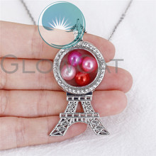 Rhinestone Locket Pendant 50cm Steel Chain Silver Color Eiffel Tower Floating Glass Locket Necklace Mother's Day Gift
