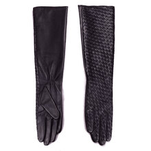 New Womens Ladies Genuine Leather Woven Design Lambskin Black Party Evening Long Gloves