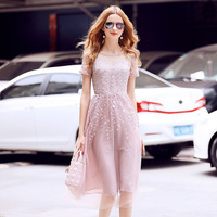 Elegant Mesh Lace Embroidery Party Dress 2017 Women O Neck Short Sleeve Pink Blue Knee Length