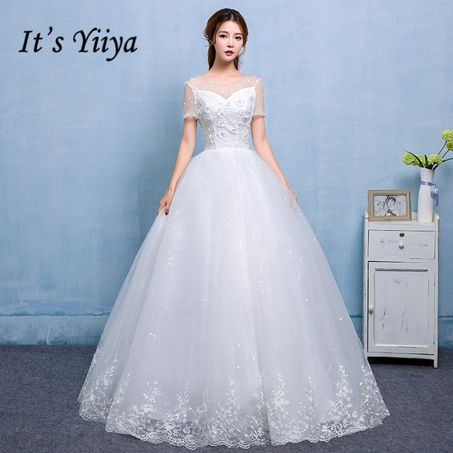 It\'s Yiiya Quality O Neck Tulle Sleeves Wedding Dresses White ...